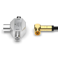 Antennen-Verteiler 2 Fach - Antennenverteiler - TV-Splitter 2-Wege T-Adapter Metallgehäuse