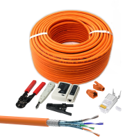 CAT 7 Verlegekabel variable Länge 10m Werkzeugset + 10x RJ45 Netzwerkstecker - Orange