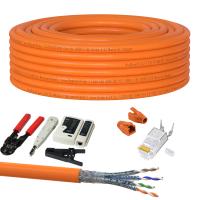 CAT 7 Verlegekabel variable Länge 25m Werkzeugset + 20x RJ45 Netzwerkstecker - Orange