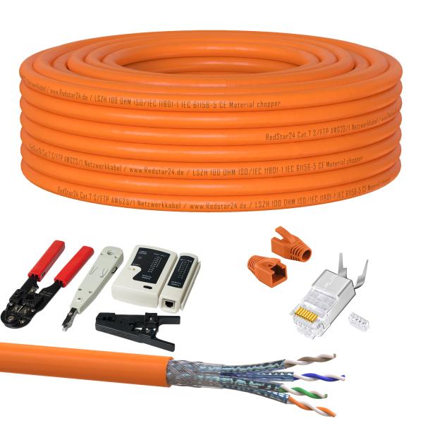 CAT 7 Verlegekabel variable Länge 50m Werkzeugset + 20x RJ45 Netzwerkstecker - Orange