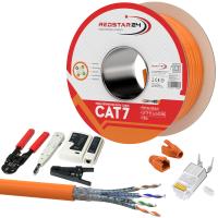 CAT 7 Verlegekabel variable Länge 100m Werkzeugset + 10x RJ45 Netzwerkstecker - Orange