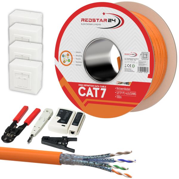 CAT 7 Verlegekabel variable Länge 100m Werkzeugset + 4x Netzwerkdose