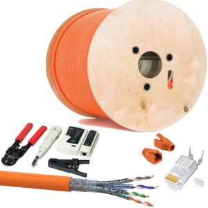 CAT 7 Verlegekabel variable Länge 500m Werkzeugset + 20x RJ45 Netzwerkstecker - Orange