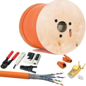 CAT 7 Verlegekabel variable Länge 500m Werkzeugset + 20x Vergoldet RJ45 Netzwerkstecker