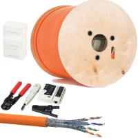 CAT 7 Verlegekabel variable Länge 500m Werkzeugset + 2x Netzwerkdose
