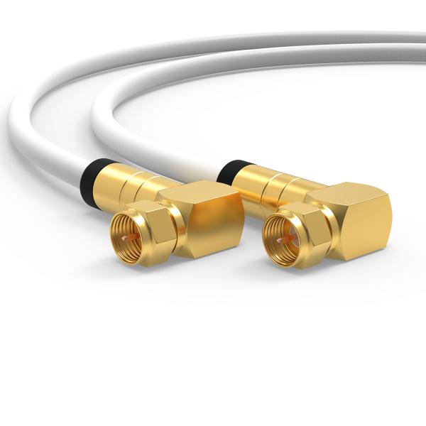 HD Sat Koax kabel Digital TV 135dB 2x 90° Winkel F-Stecker Antennenkabel UHD Weiß 1m