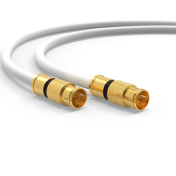 HD Sat F Quick Schnell Stecker 135dB Digital Antennen Koax kabel Routerkabel UHD Weiß 1m