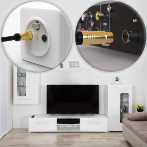 Antennenkabel Digital TV Kabel 135db Koax Stecker Buchse VERGOLDET HD 4K 3D UHD Weiß 1,5m
