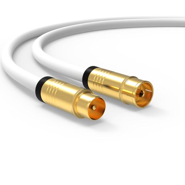 Antennenkabel Digital TV Kabel 135db Koax Stecker Buchse VERGOLDET HD 4K 3D UHD Weiß 7,5m