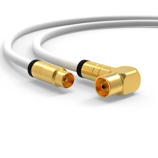 Antennenkabel Digital TV Kabel 135db Koax Stecker 90° Buchse VERGOLDET HD UHD Weiß 2m