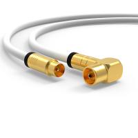 Antennenkabel Digital TV Kabel 135db Koax Stecker 90° Buchse VERGOLDET HD UHD Weiß 7,5m