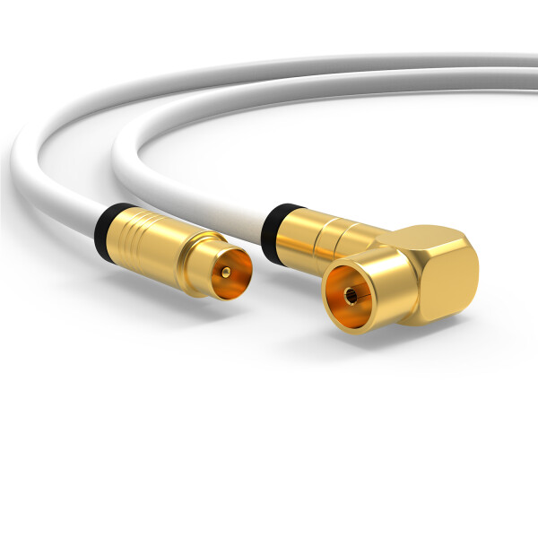 Antennenkabel Digital TV Kabel 135db Koax Stecker 90° Buchse VERGOLDET HD UHD Weiß 25m