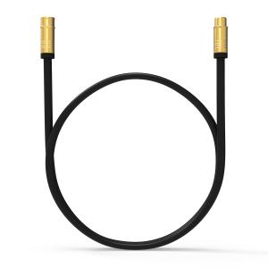 HD Antennenkabel Digital TV Kabel 135db 90° Koax Stecker Buchse VERGOLDET 4K UHD Schwarz 1m