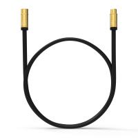 HD Antennenkabel Digital TV Kabel 135db 90° Koax Stecker Buchse VERGOLDET 4K UHD Schwarz 2m