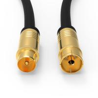 HD Antennenkabel Digital TV Kabel 135db 90° Koax Stecker Buchse VERGOLDET 4K UHD Schwarz 7,5m