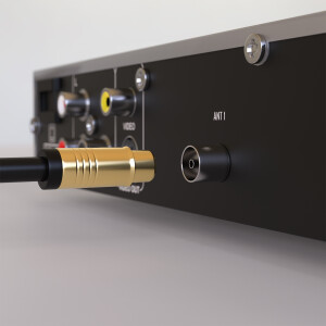 HD Antennenkabel Digital TV Kabel 135db 90° Koax Stecker Buchse VERGOLDET 4K UHD Schwarz 20m