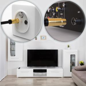 HD Antennenkabel Digital TV Kabel 135db 90° Koax Stecker Buchse VERGOLDET 4K UHD Schwarz 30m