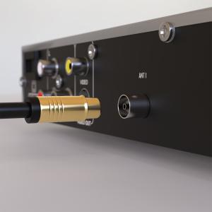 HD Antennenkabel Digital TV Kabel 135db 90° Koax Stecker Buchse VERGOLDET 4K UHD Weiß 1,5m