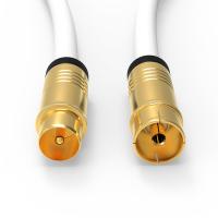 HD Antennenkabel Digital TV Kabel 135db 90° Koax Stecker Buchse VERGOLDET 4K UHD Weiß 30m
