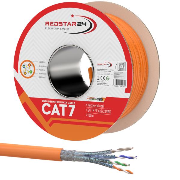 CAT7 Netzwerkkabel Verlegekabel Kupfer Spule Halogenfrei 100m