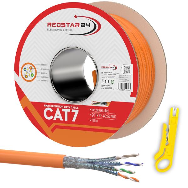 CAT7 Netzwerkkabel Verlegekabel Kupfer Spule Halogenfrei 100m Abisolierer orange
