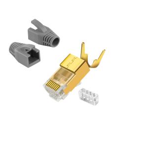 CAT7 RJ 45 Netzwerkstecker Vergoldet Grau 6x RJ45 Crimpzange