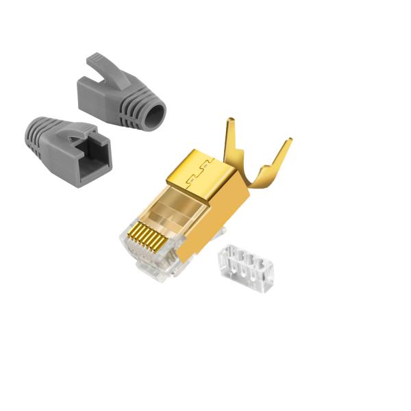 CAT7 RJ 45 Netzwerkstecker Vergoldet Grau 10x Keine Wahl