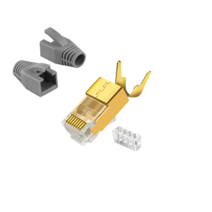 CAT7 RJ 45 Netzwerkstecker Vergoldet Grau 10x RJ45 Crimpzange