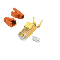 CAT7 RJ 45 Netzwerkstecker Vergoldet Orange 6x RJ45 Crimpzange
