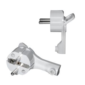 Schutzkontakt Winkelstecker extra flach 8mm Weiß