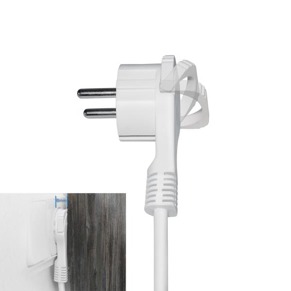 Schutzkontakt Winkelstecker extra flach 8mm Weiß 2x