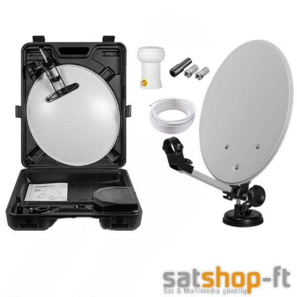 Camping SAT Anlage 35 cm Spiegel Ink. HD LNB 0,1 dB + Kabel + Saugfuß + Koffer