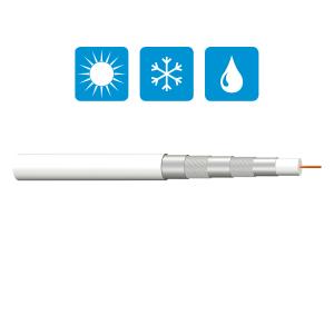 Koaxial SAT Antennenkabel 135dB 5-fach Satelliten DIGITAL Kabel HD UHD 10- 500m  Weiß 15m 10 F-Stecker & Abisolierer