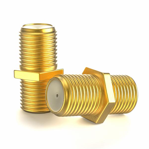 F-Verbinder Vergoldet F-Kupplung F-Buchse F-Stecker SatKabel Koaxialkabel 2x