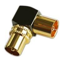 TV Winkeladapter Koax Stecker-Kupplung Antennen Vollmetall 90° Adapter HD 2x