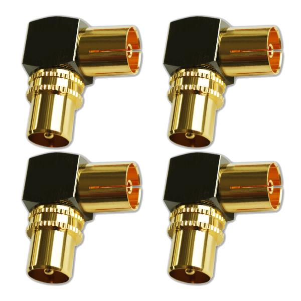TV Winkeladapter Koax Stecker-Kupplung Antennen Vollmetall 90° Adapter HD 4x