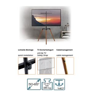 Staffelei Tripod TV Stativ Ständer | Halterung 50 bis 65 Zoll & 35 kg Fernseher o. Monitor