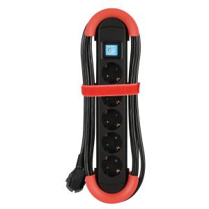 Steckdosenleiste 5-fach Schalter Kabelaufwickler Aufhängevorrichtung Klettband 5m