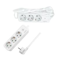 Steckdosenleiste 3-Fach mit Kindersicherung und Schalter 1,5m Weiß