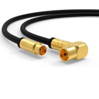 Antennenkabel Digital TV Kabel 135db Koax Stecker 90° Buchse VERGOLDET HD UHD Schwarz 0,5m
