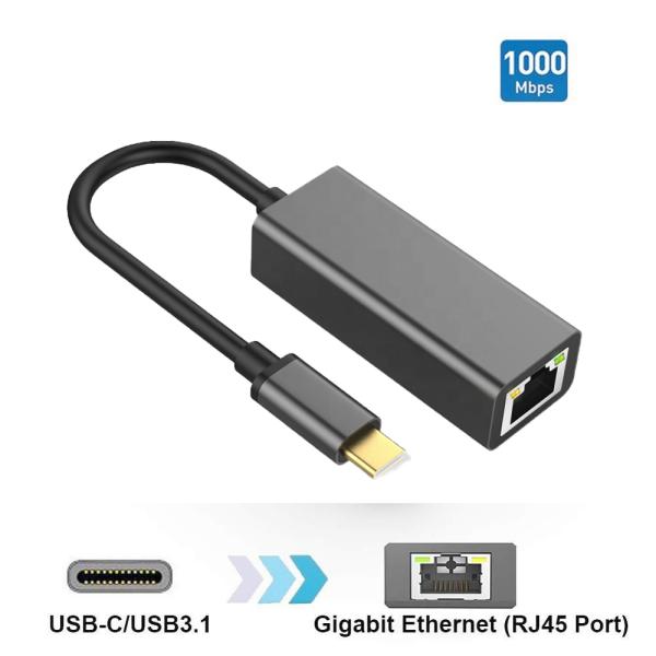 USB C auf Ethernet Netzwerk Adapter Gbit Typ C auf RJ45 Gigabit LAN für MacBook, Laptop, Mobilgeräte
