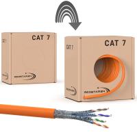 Cat.7 Netzwerkkabel Verlegekabel 1000 MHz S/FTP 50 m Abrollbox PIMF Orange