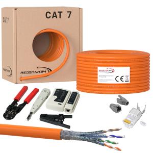 Cat.7 Netzwerkkabel 100m Verlegekabel Werkzeug Set + 10x...