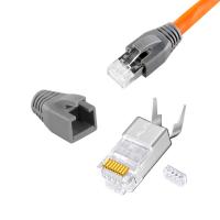 Cat.7 Netzwerkkabel 100m Verlegekabel Werkzeug Set + 10x RJ45 Stecker Daten LAN Kabel