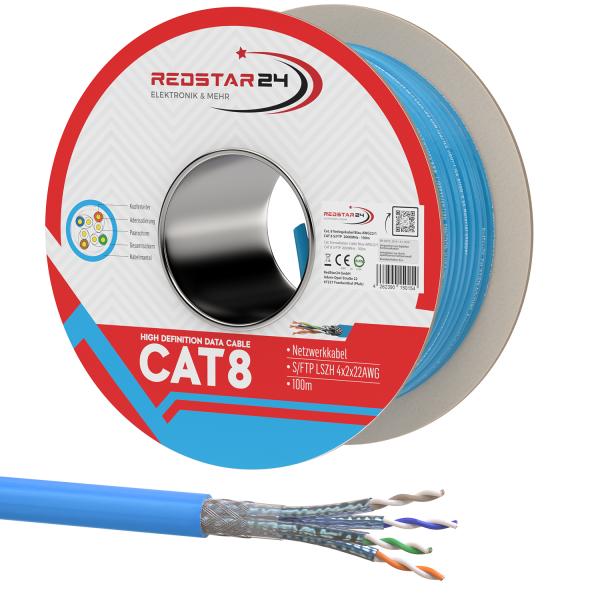 Cat.8 Netzwerkkabel Verlegekabel 2000 MHz S/FTP 100 m Spule PIMF Blau