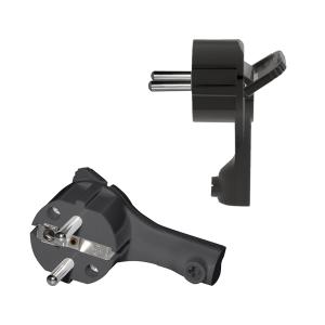 Schutzkontakt Winkelstecker extra flach 8mm Schwarz
